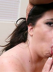 Large and lusty chick Dominique pleasures a horny stud with her face hole and fat and wet pussy