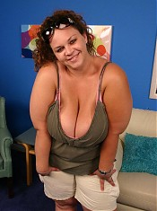 Horny bbw Mona Mounds showing off her big fat juicy tits while black cock nailing in her twat