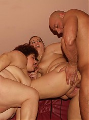 eager mature plumpers Victoria and Gaborne enjoy equal turns in dishing out their muffs