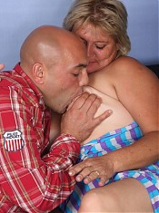 Sexy blonde plumper Sussana sucks a cock with gusto and later got herself gooed and screwed